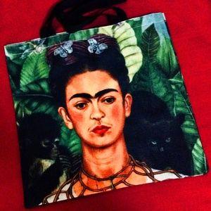 Handbags - Frida Kahlo Large Tote Bag Self Portrait Black Cat